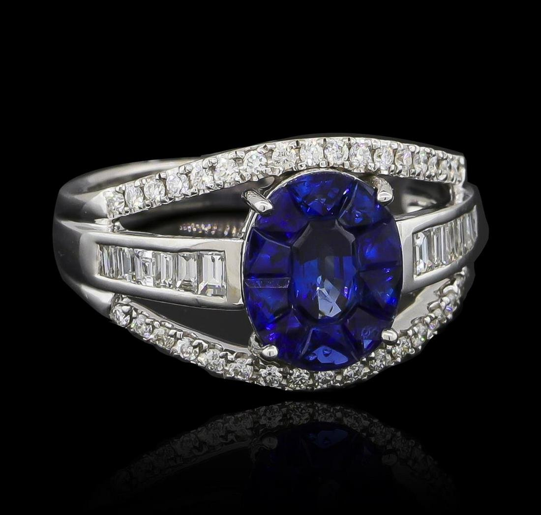 1.10 ctw Blue Sapphire and Diamond Ring - 18KT White