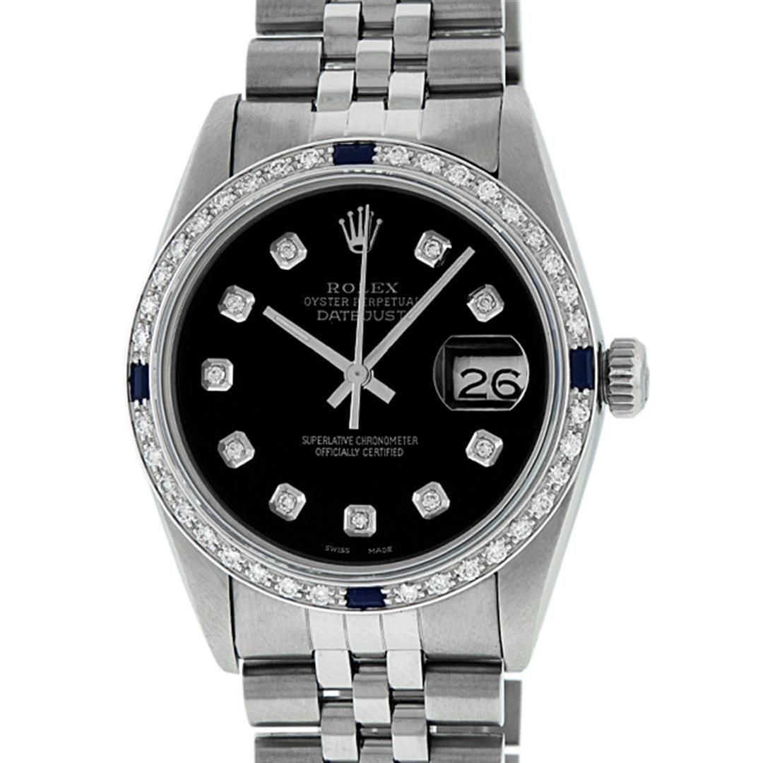 Rolex Mens Stainless Steel Black Diamond & Sapphire