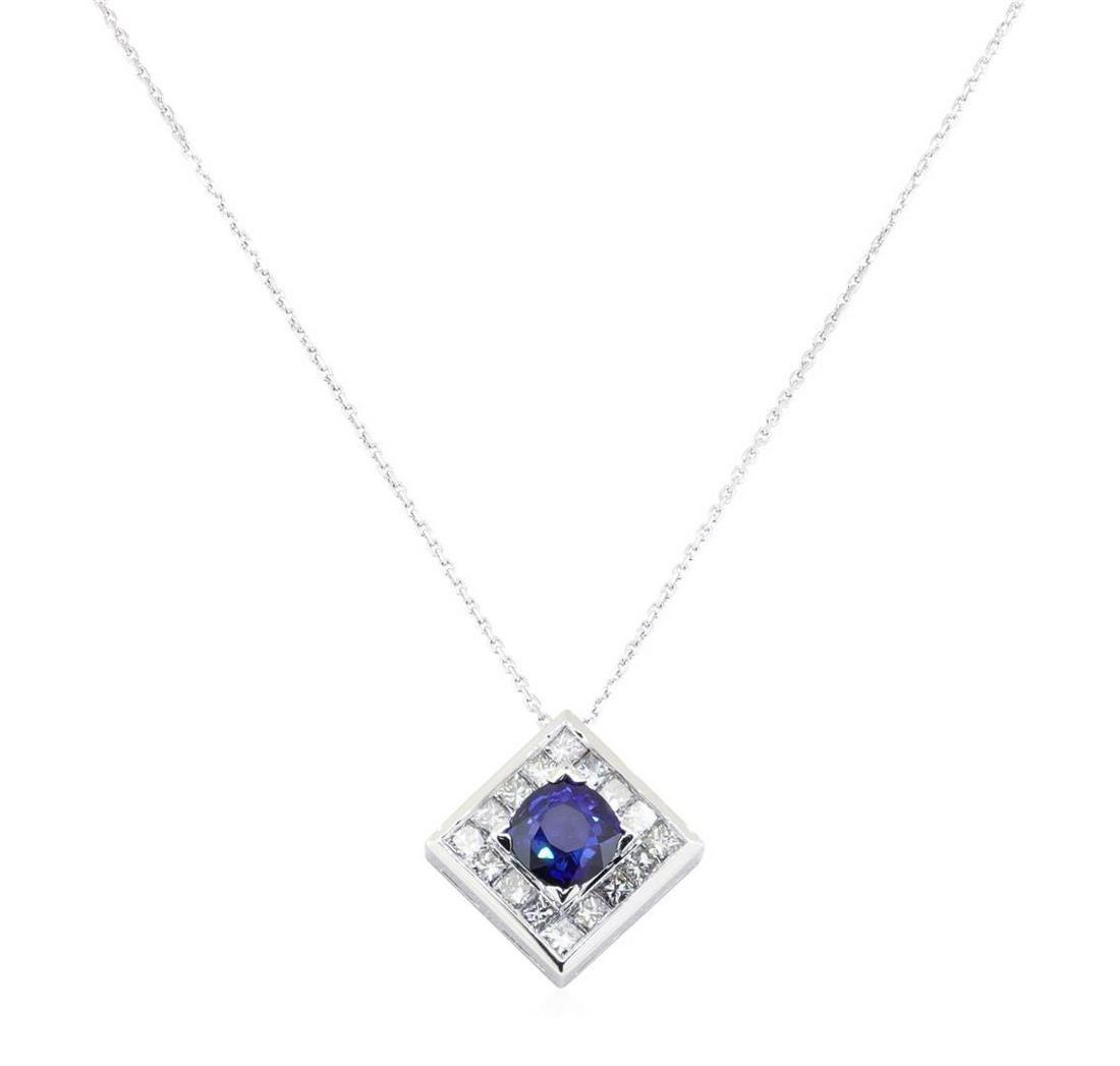 2.55 ctw Blue Sapphire And Diamond Pendant And Chain -