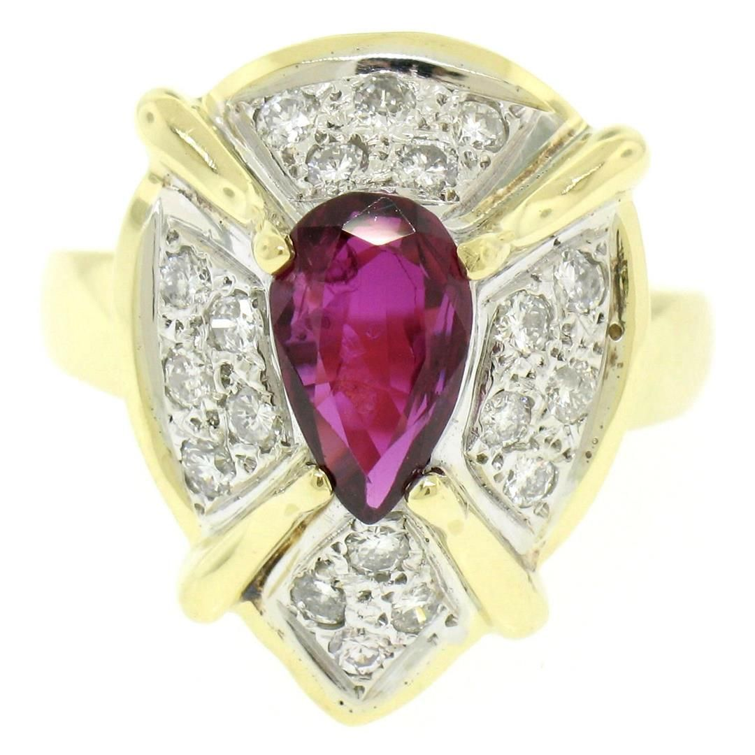 Vintage 18kt White and Yellow Gold 2.98 ctw Ruby and
