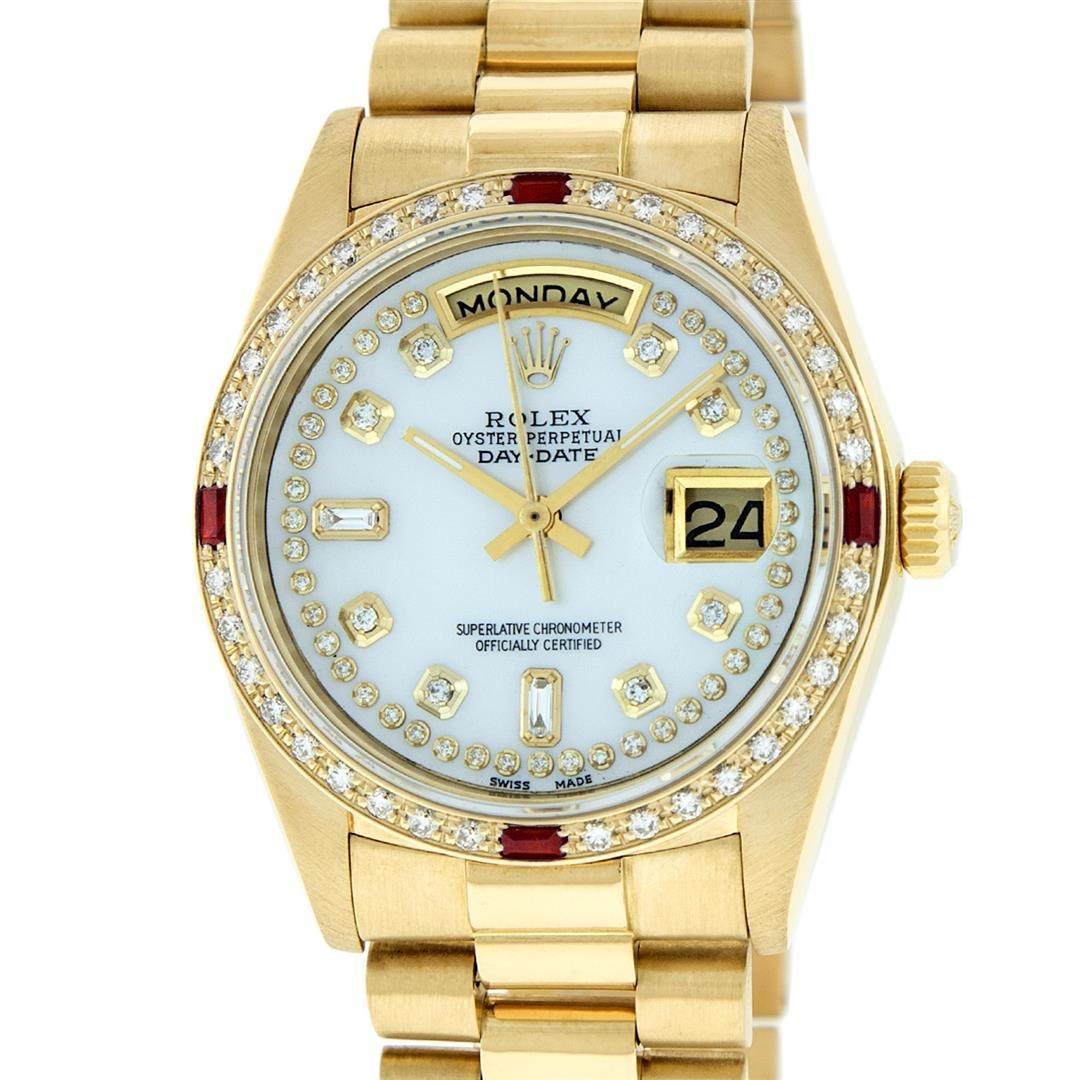 Rolex Mens 18K Yellow Gold MOP String Diamond & Ruby