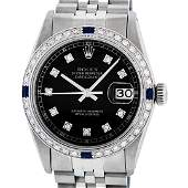 Rolex Mens Stainless Steel Black Diamond  Sapphire