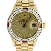 Rolex Ladies 18K Yellow Gold Ruby And Champagne Index