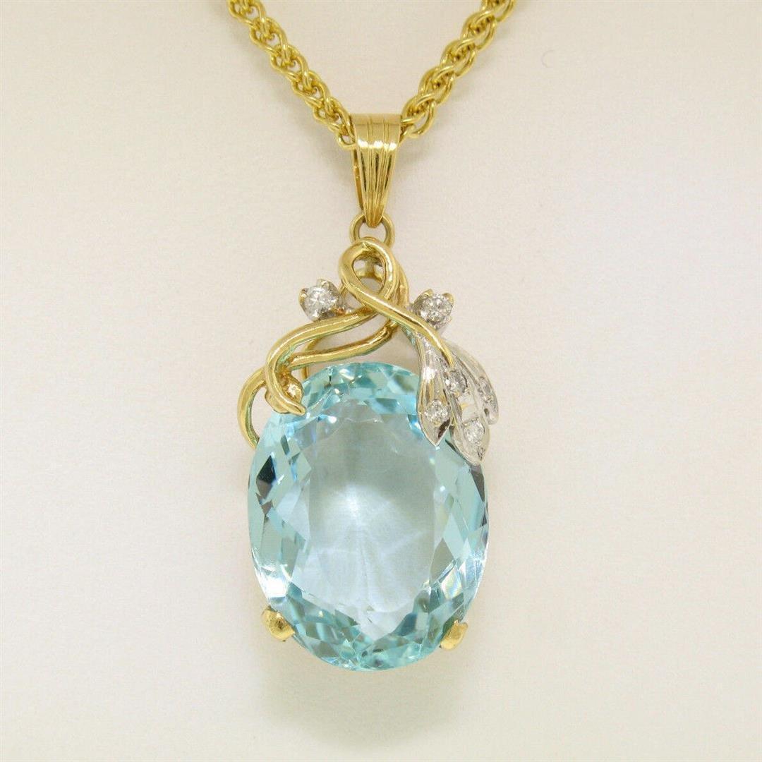 "14kt Yellow Gold 16.14 ctw Aquamarine and Diamond 18"""