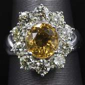300 ctw Citrine and Diamond Ring  14KT White Gold