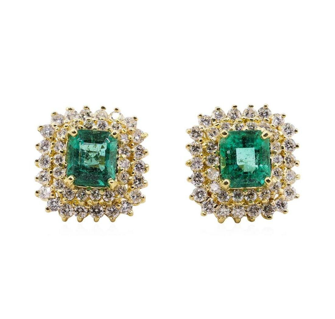 3.71 ctw Emerald and Diamond Earrings - 18KT Yellow