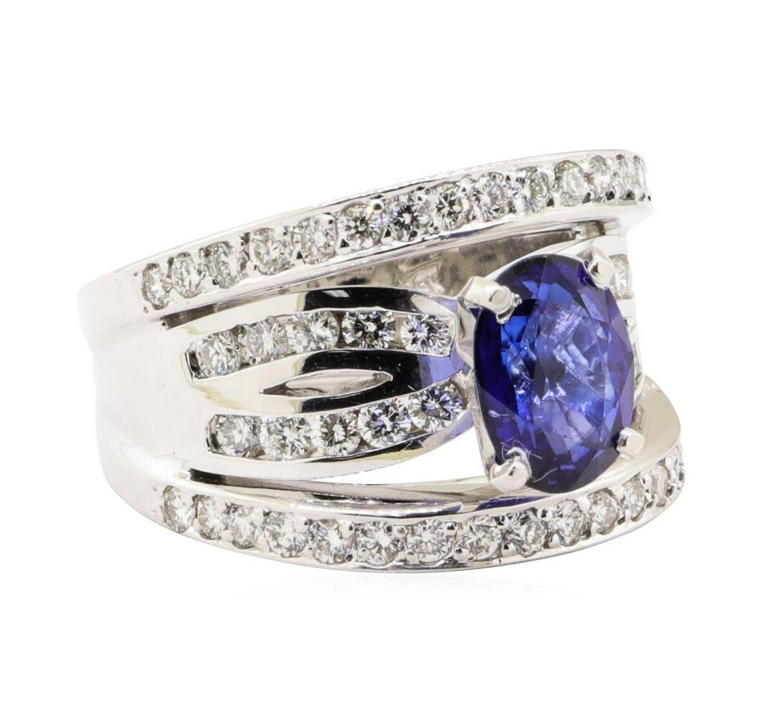 3.61 ctw Blue Sapphire And Diamond Ring - 18KT White