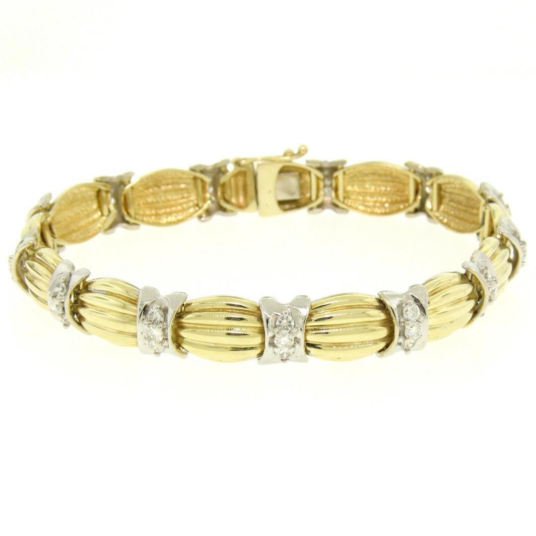 14K Two Tone Gold 1.35 ctw Round Diamond Textured X O