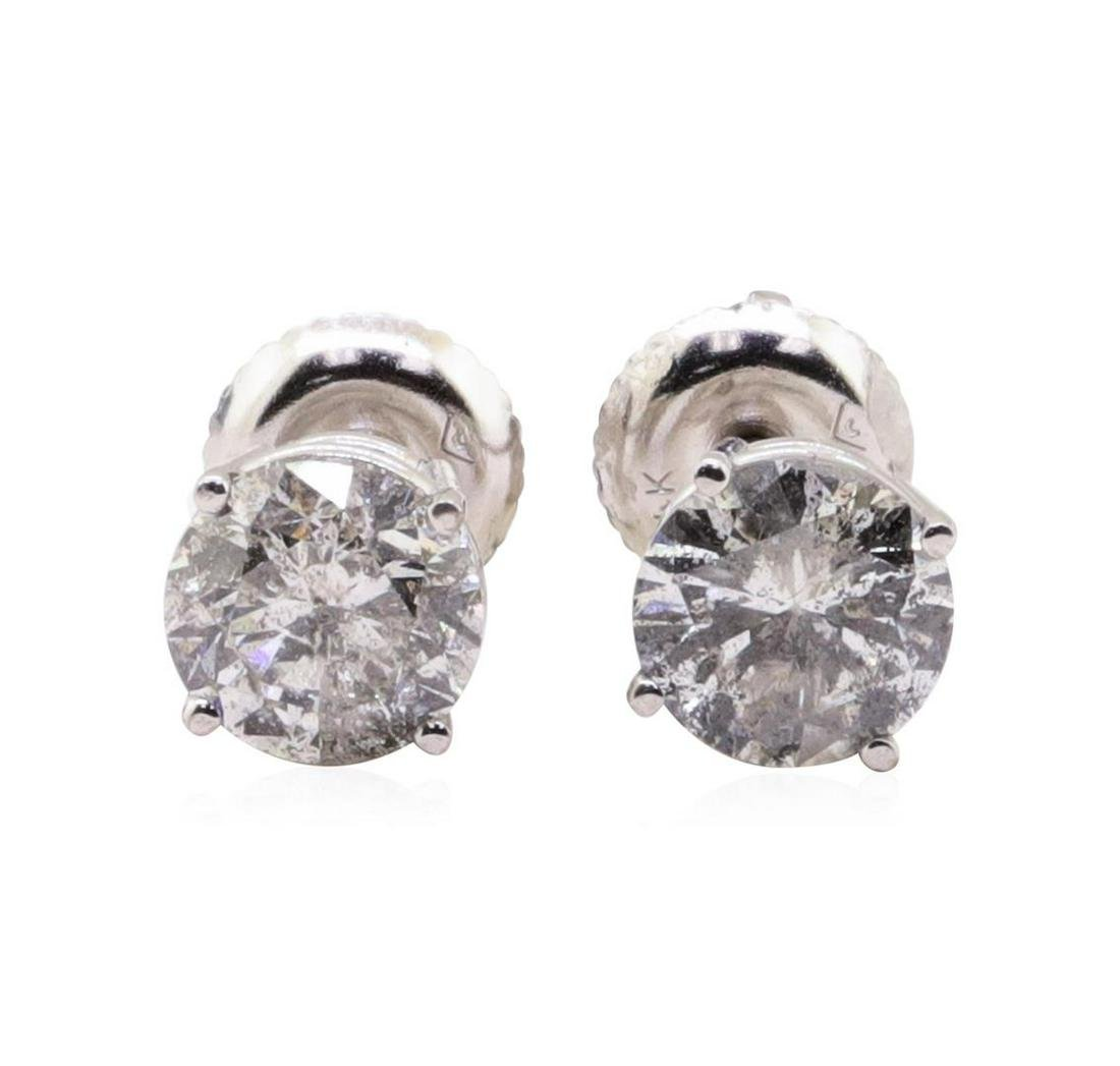 2.04 ctw Diamond Stud Earrings - 14KT White Gold