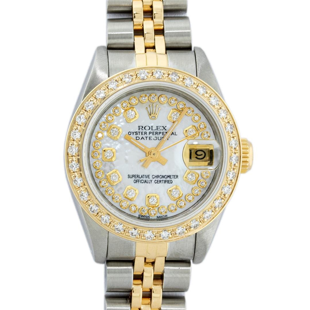 Rolex Ladies 2 Tone 18K Gold Diamond Bezel MOP String