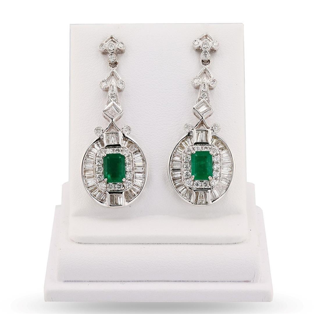 2.25 ctw Emerald and 2.55 ctw Diamond 14K White Gold