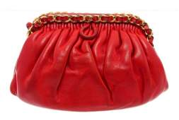 Chanel Vintage Red Leather Convertible Clutch Bag