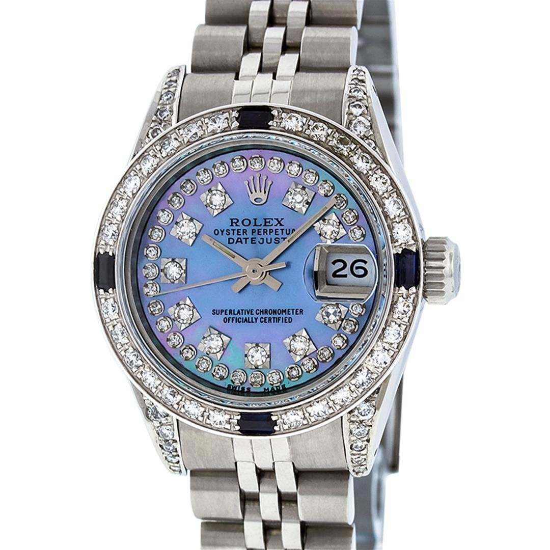 Rolex Ladies Stainless Steel Diamond Lugs Blue MOP