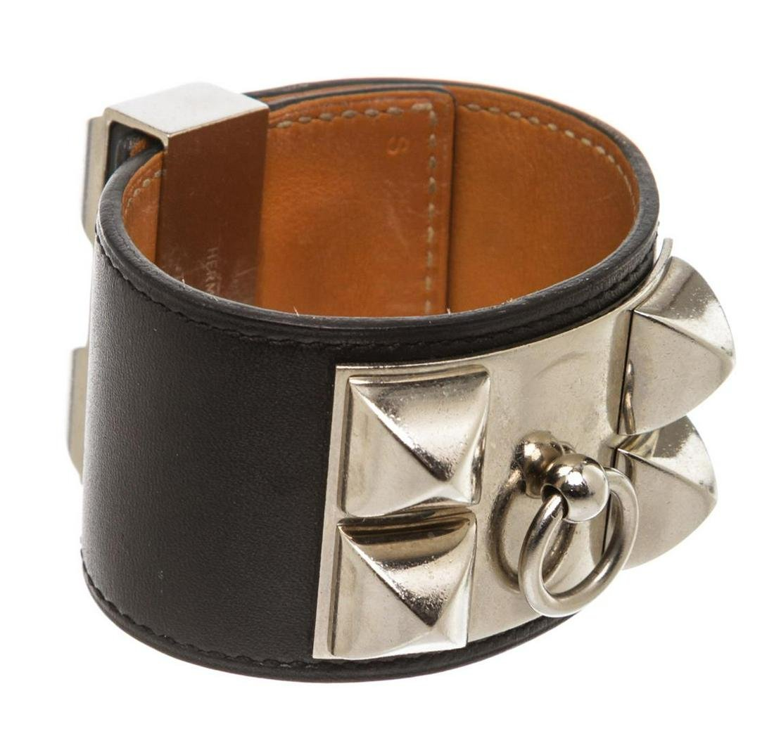 Hermes Black Leather Collier de Chien Bracelet