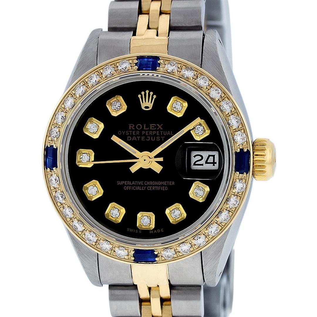 Rolex Ladies 2 Tone Black Diamond & Sapphire Datejust