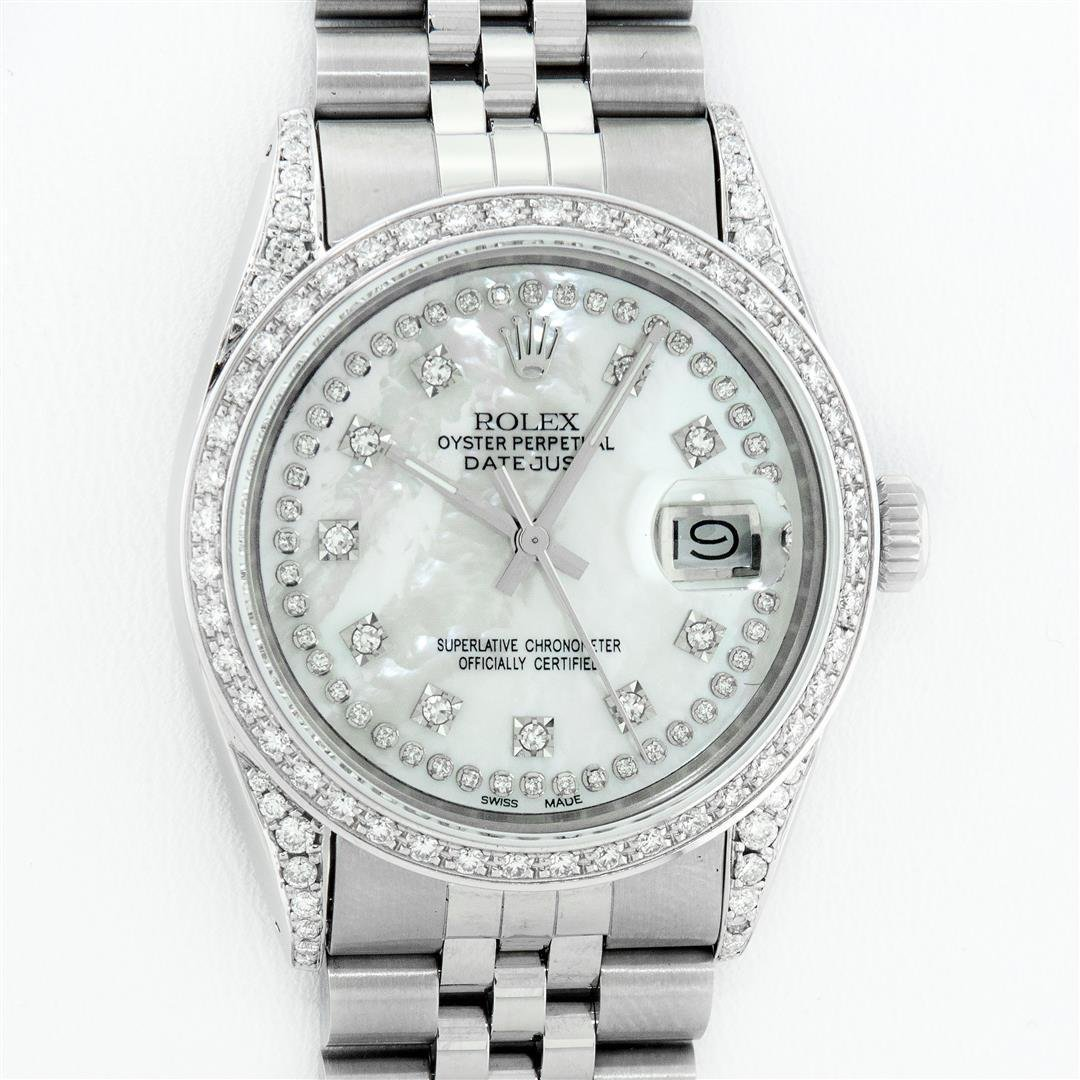 Rolex Mens Stainless Steel Mother Of Pearl Diamond Lugs