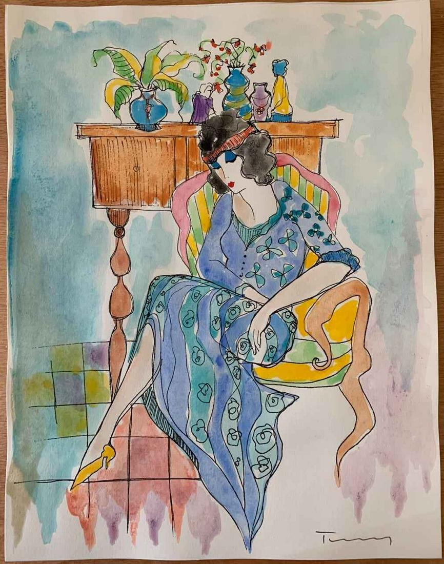 """Itzchak Tarkay """"Watercolor (Untitled Ref. #14)"""""""