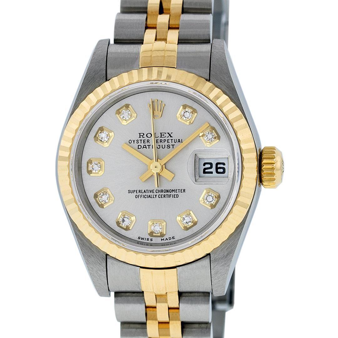 Rolex Ladies Quickset 2 Tone 18K Silver Diamond