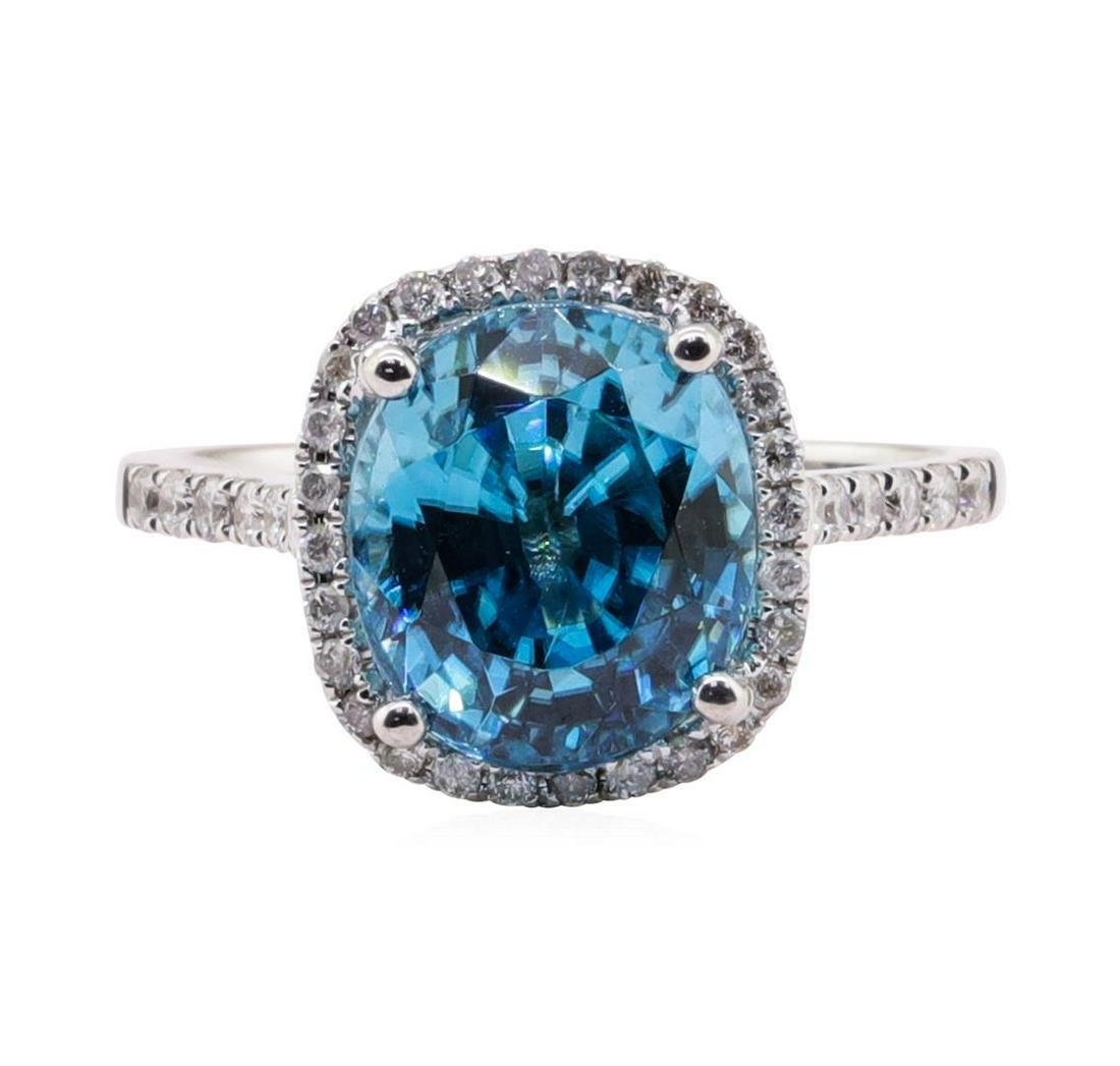 4.46 ctw Blue Zircon and Diamond Ring - 14KT White Gold