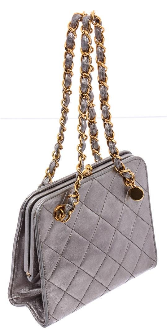 Chanel Metallic Silver Vintage Mini Quilted Lambskin