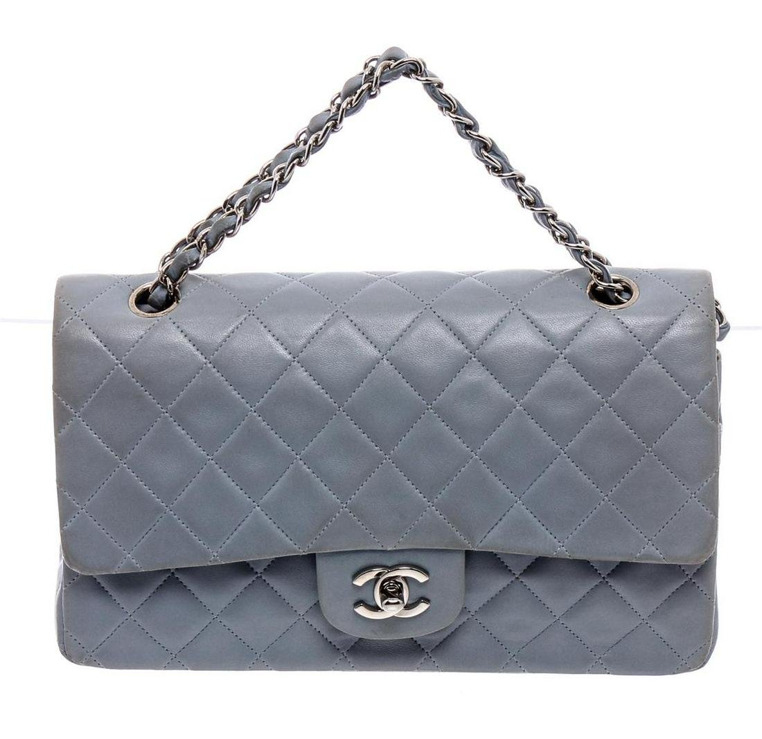 Chanel Baby Blue Lambskin Leather Classic Medium Double