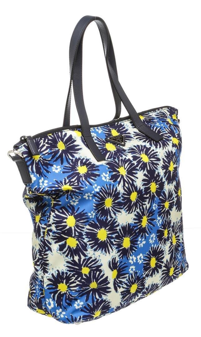 Prada Blue Multicolor Tessuto Nylon Stampato Tote Bag