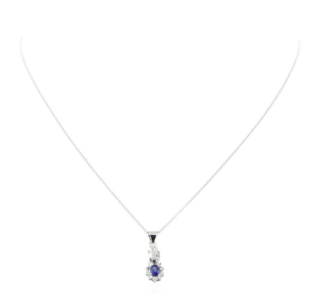 0.45 ctw Blue Sapphire and Diamond Pendant with Chain -
