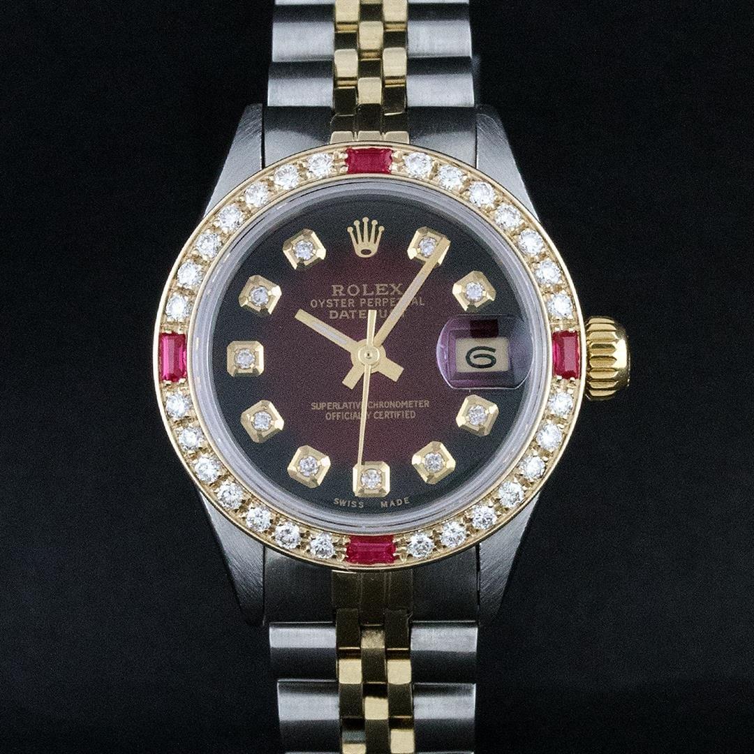Rolex Ladies 2 Tone 18K Gold Bezel Red Vignette Diamond