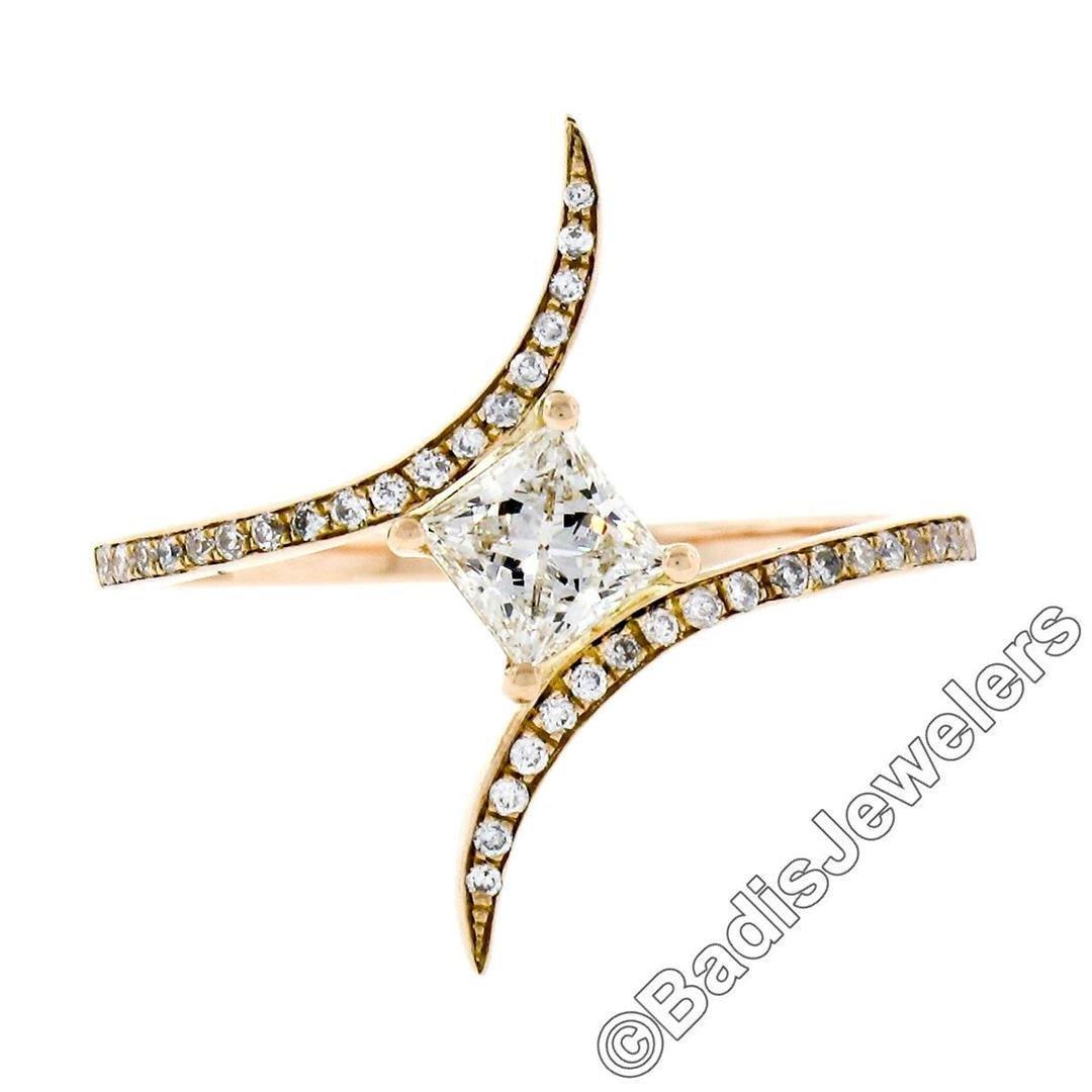 18kt Rose Gold 0.60 ctw Princess and Round Diamond
