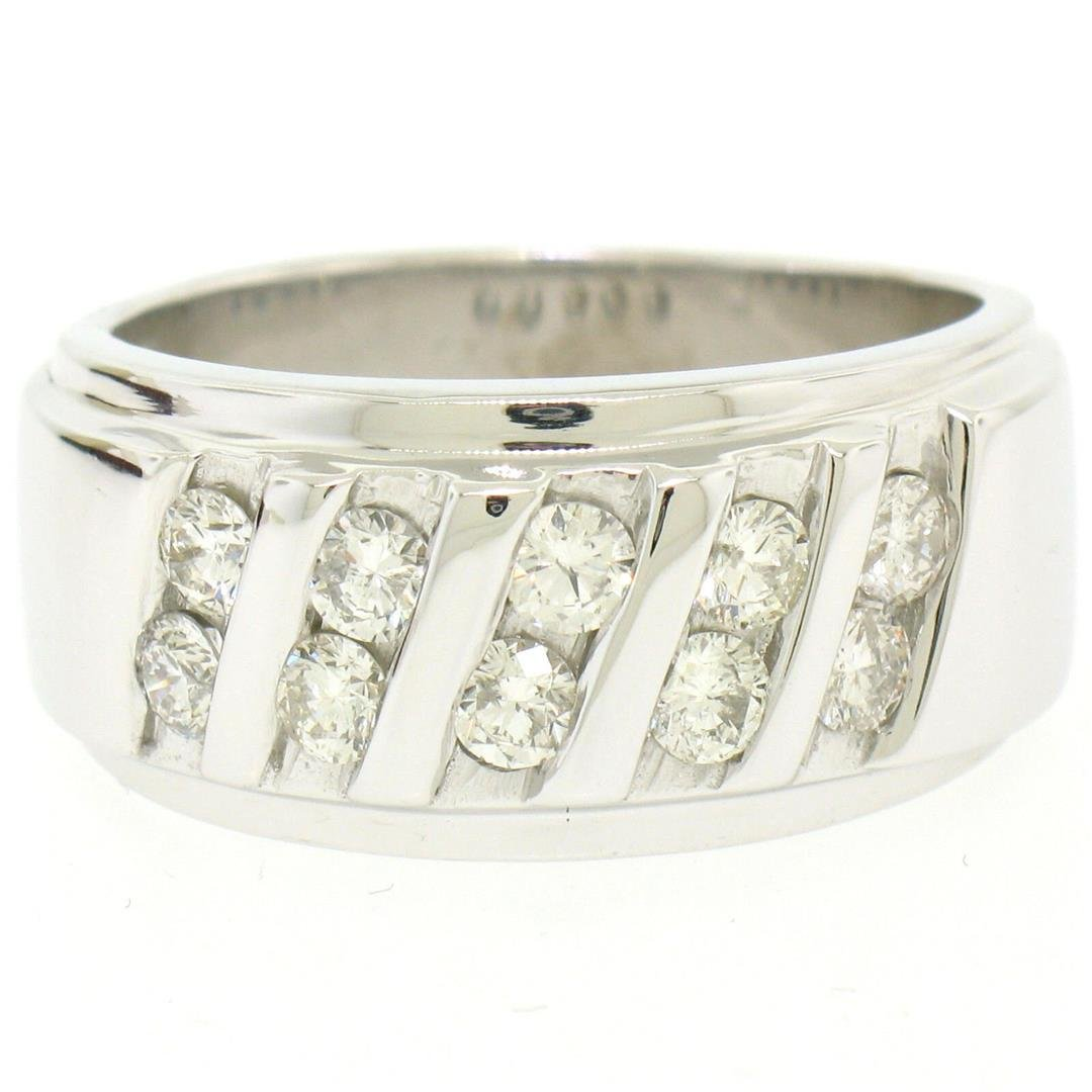 Men's 14k White Gold 1.00 ctw Round Diamond Diagonal