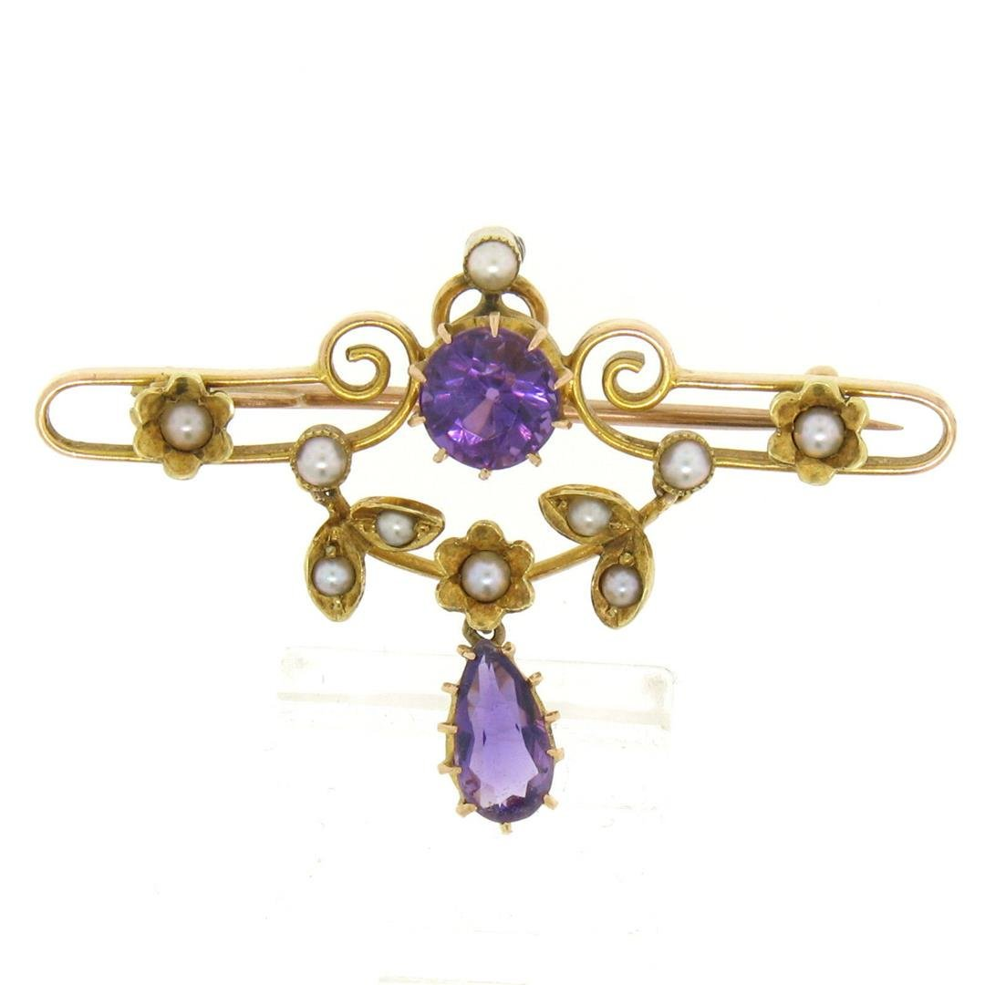 Victorian 15kt Yellow Gold Old Cut Amethyst and Seed