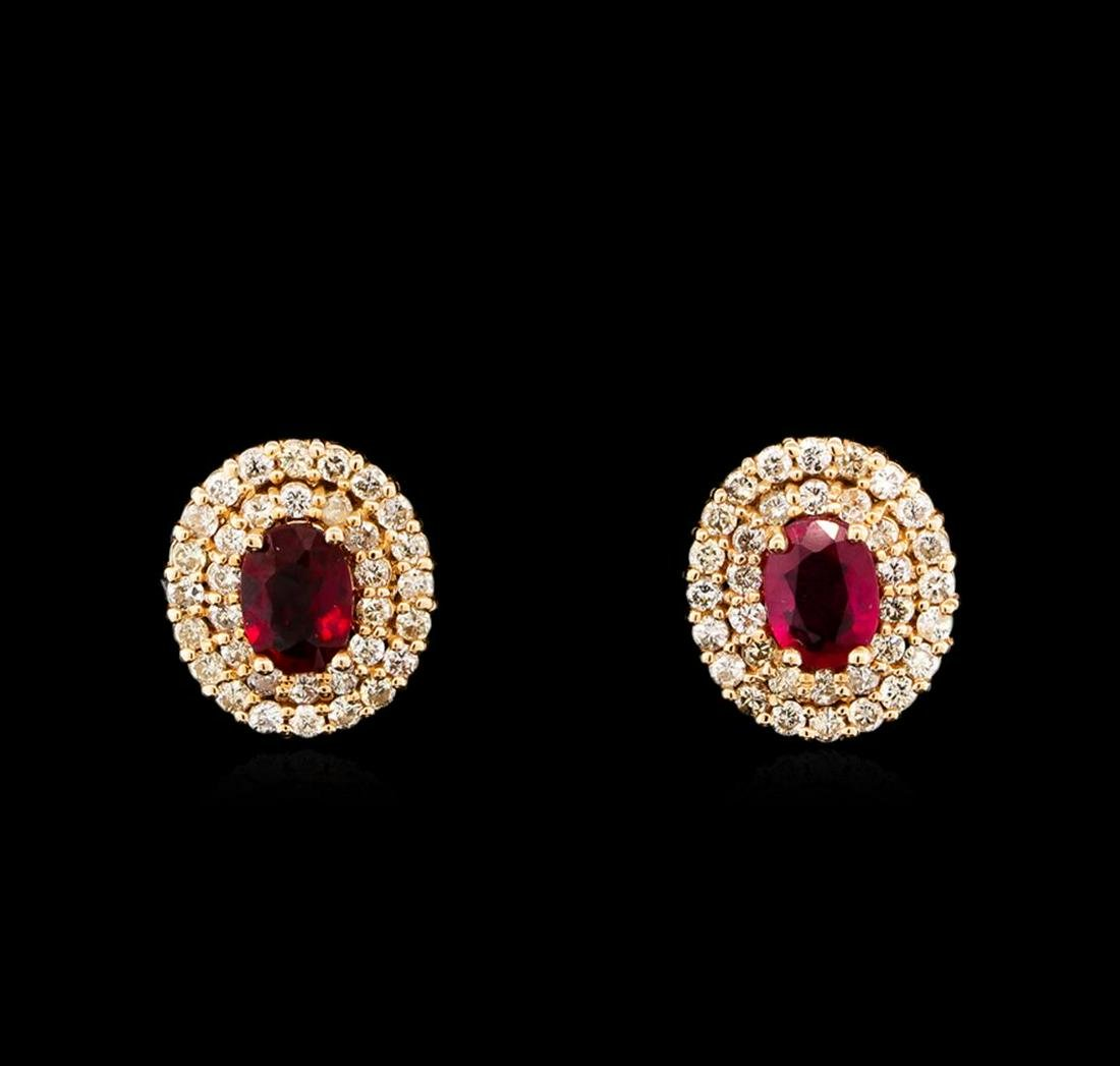 14KT Rose Gold 2.07 ctw Ruby and Diamond Earrings