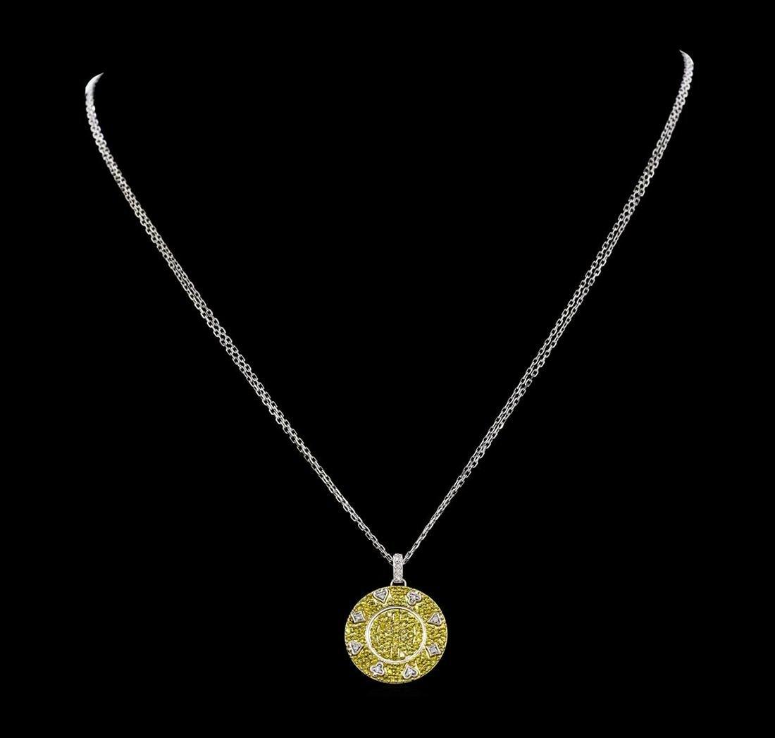 1.50 ctw Yellow Sapphire And Diamond Pendant & Chain -