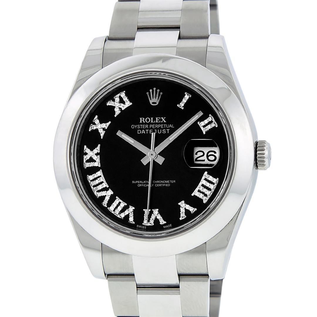 Rolex Mens SS 41MM Black Roman Diamond Datejust 2