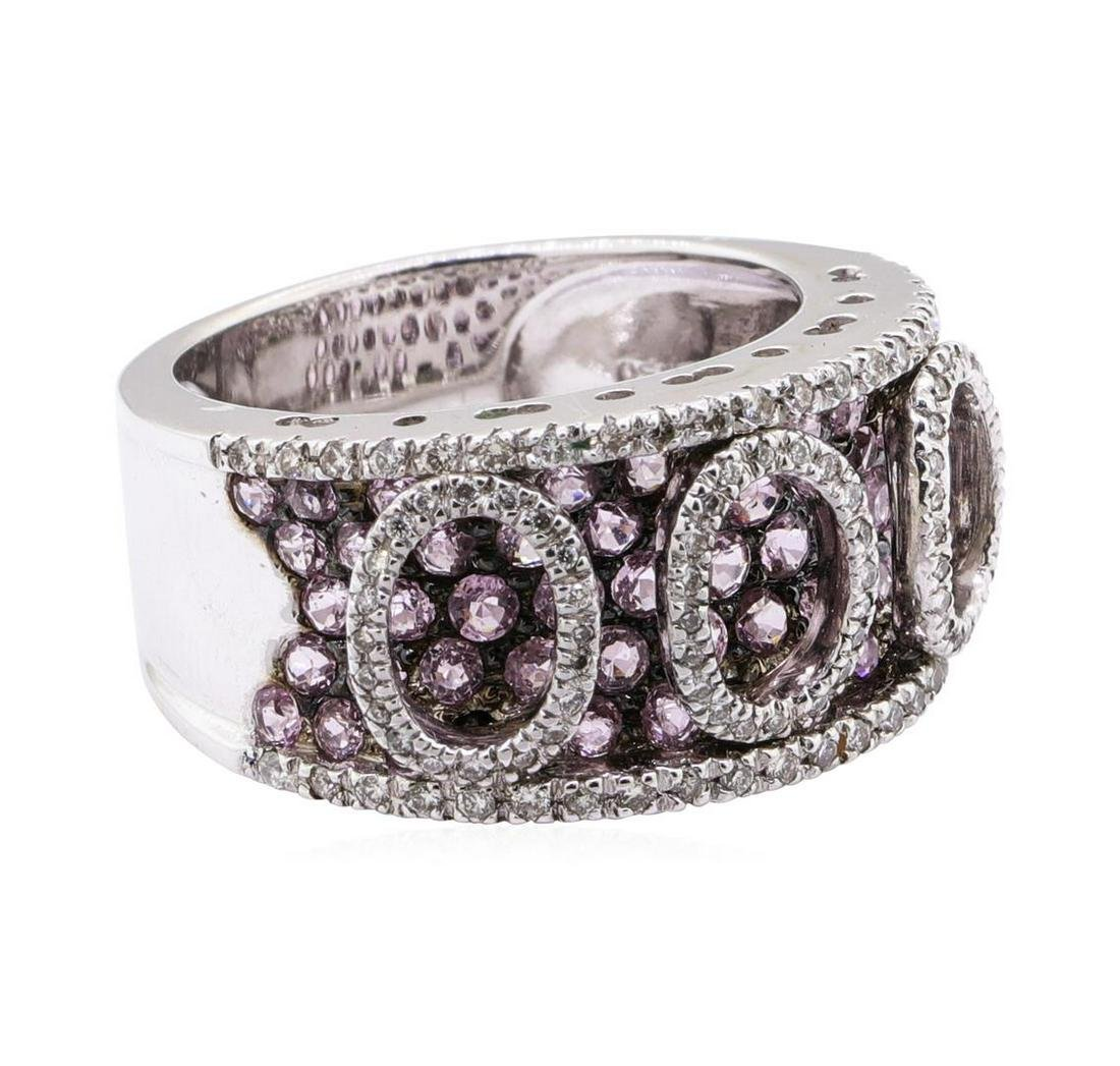 2.35 ctw Pink Sapphire And Diamond Band - 18KT White
