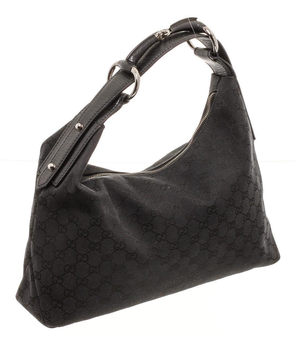 Gucci Black GG Canvas Leather Medium Horsebit Hobo Bag