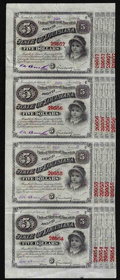 Uncut Sheet of (4) State of Louisiana Baby Bond