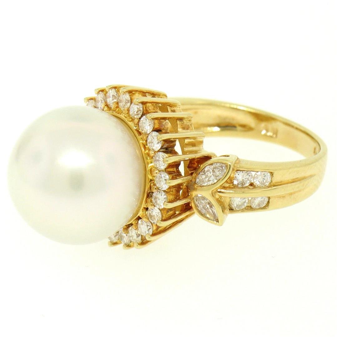 18K Yellow Gold  13.3mm South Sea Pearl Ring w/