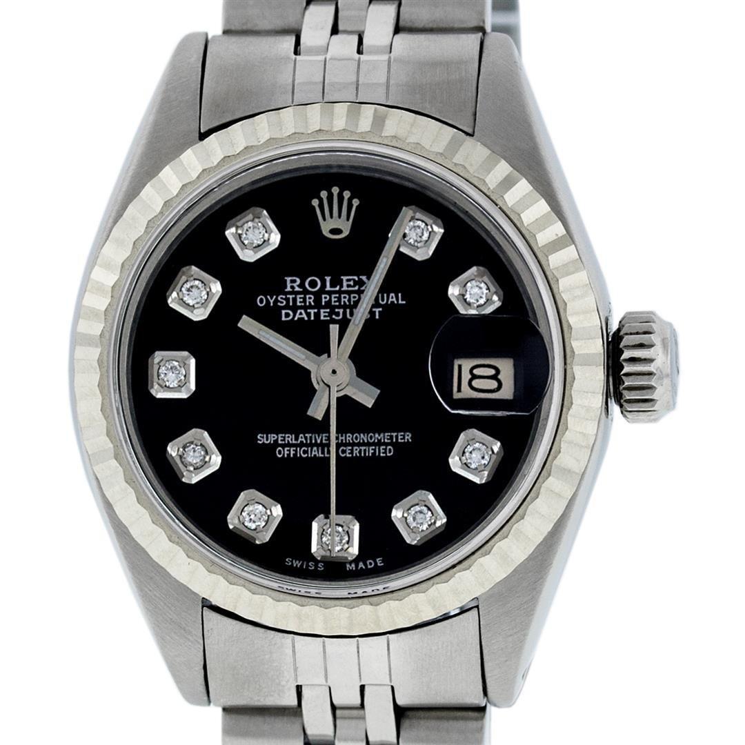 Rolex Ladies Stainless Steel Black Diamond 26MM