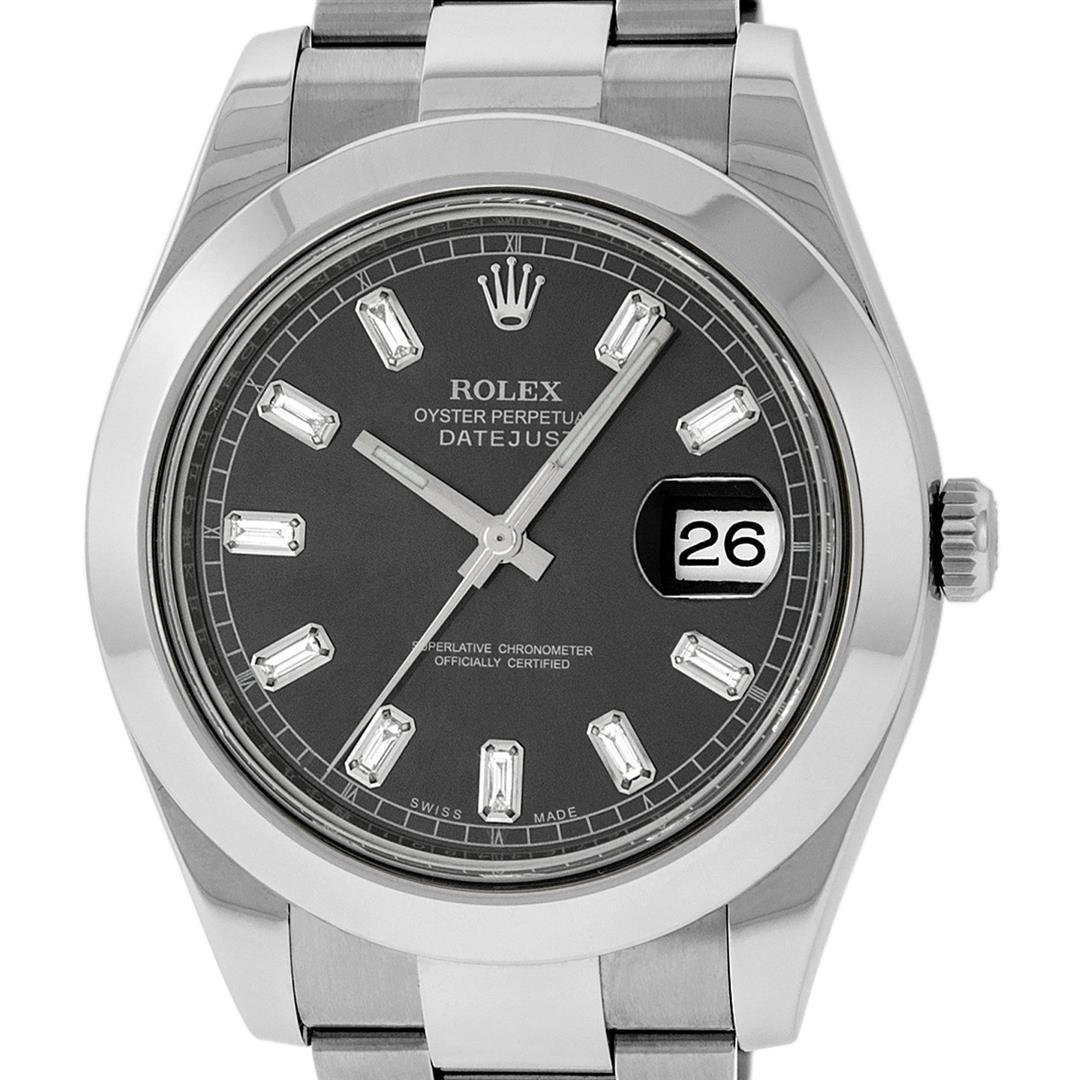Rolex Mens SS 41MM Rhodium Baguette Diamond Datejust 2