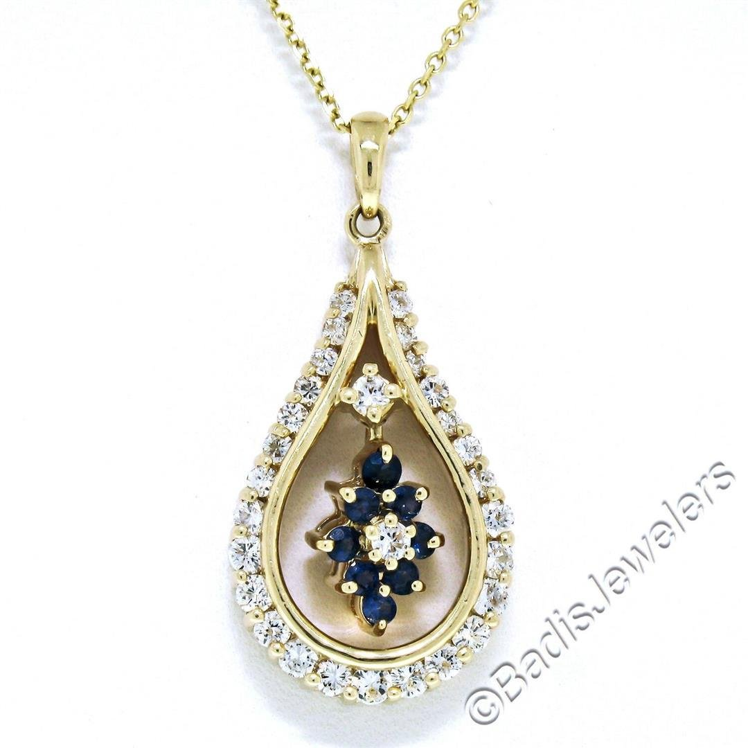 14kt Yellow Gold 1.22 ctw Diamond and Sapphire Tear