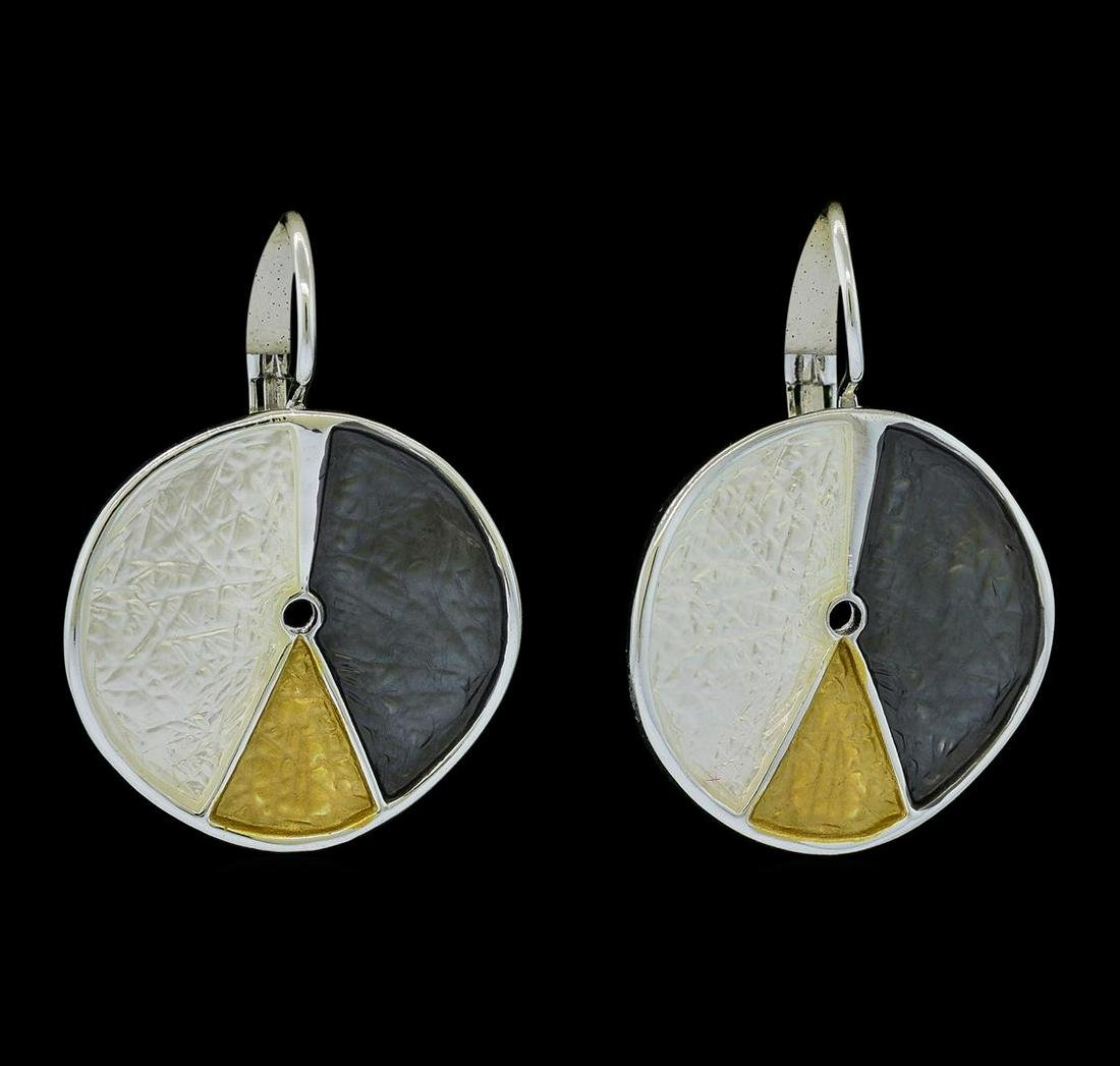 Tri Color Hand Painted Medallion Earrings - Rhodium