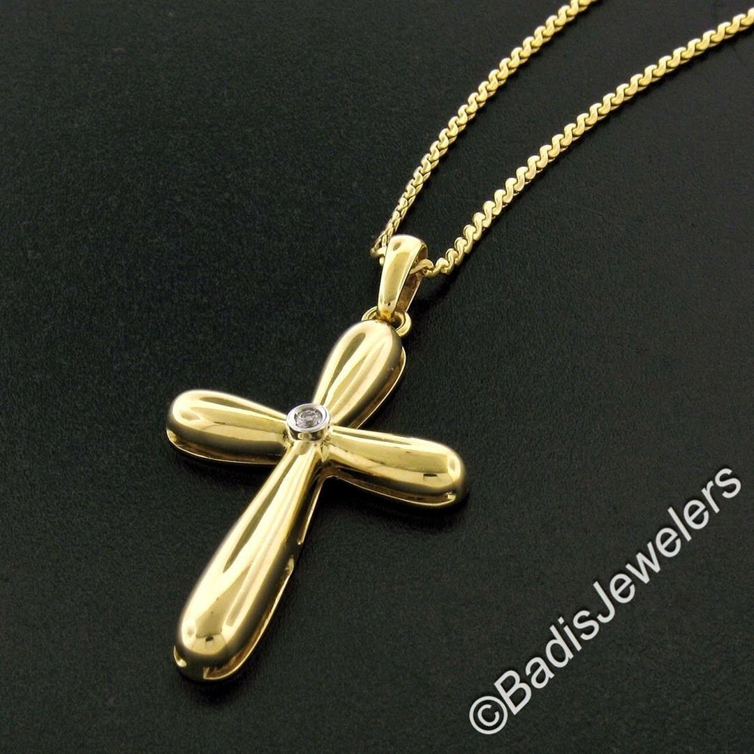 Italian 18kt Yellow Gold Round Diamond Polished Cross
