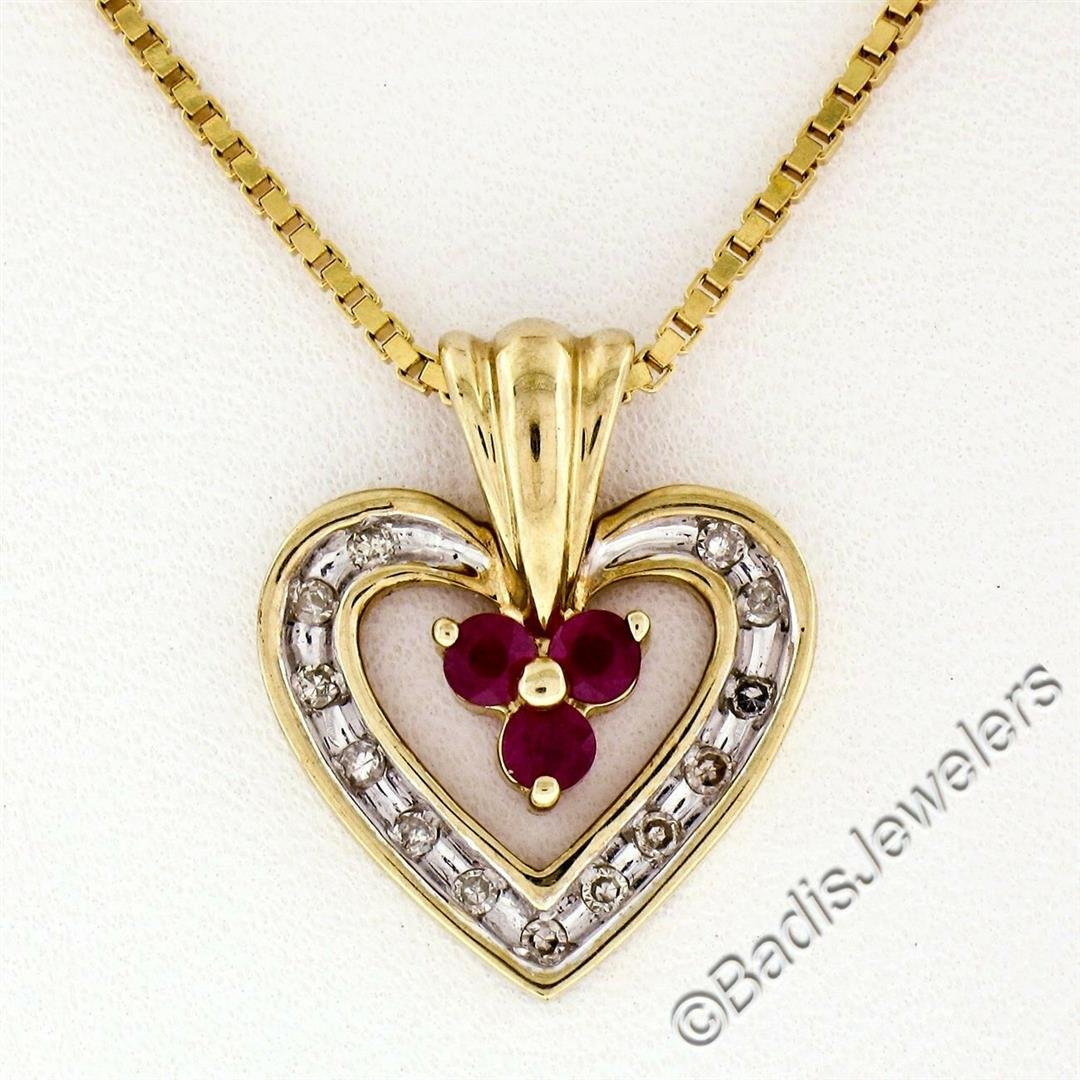 14kt Yellow Gold 0.51 ctw Round Ruby and Diamond Open