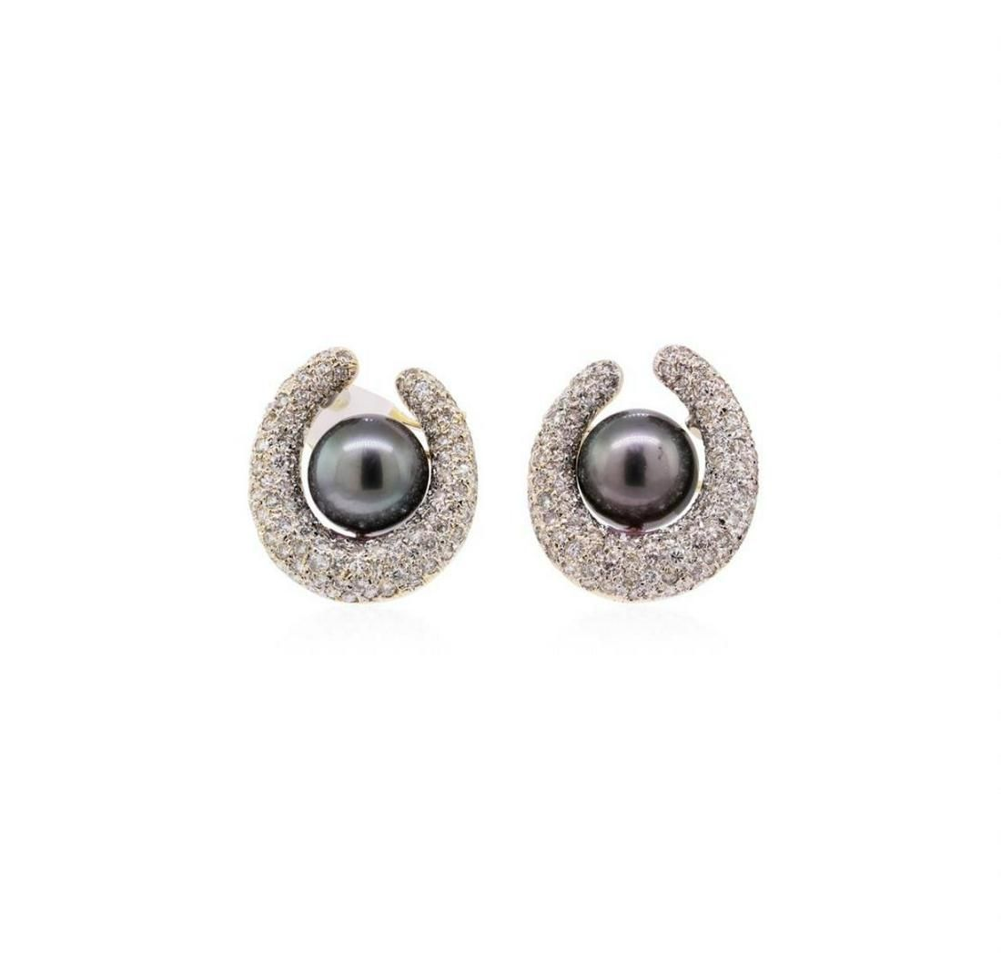 2.00 ctw Tahitian Pearl and Diamond Earrings - 14KT