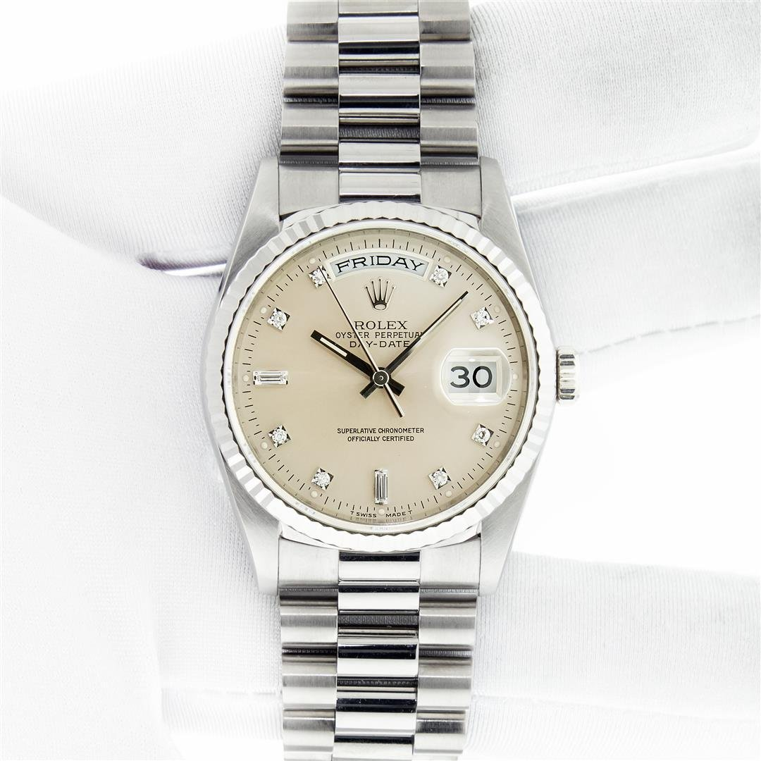 Rolex Mens 18k White Gold President Day-Date Silver