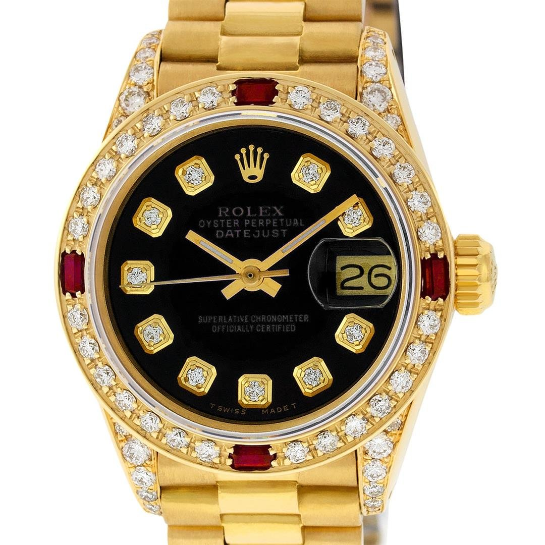 Rolex Ladies 18K Yellow Gold Black Diamond And Ruby