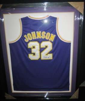 6: Magic Johnson Framed Signed Lakers Jersey