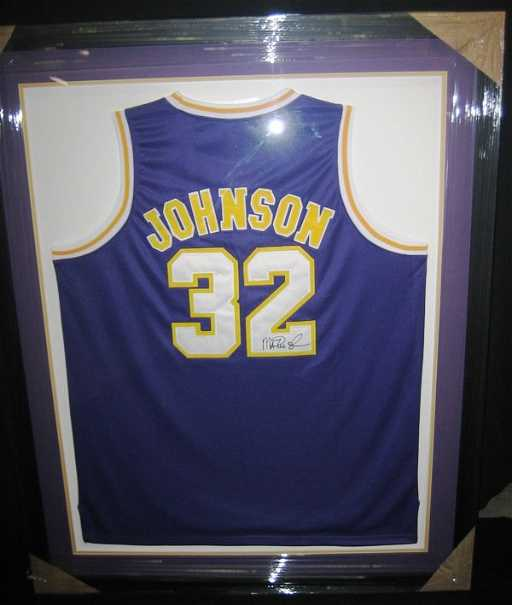 ac9bf90bce3 6  Magic Johnson Framed Signed Lakers Jersey