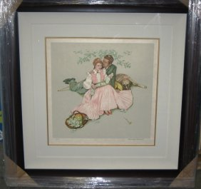 """7: """"Flowers in the Park"""" Signed by Norman Rockwell"""